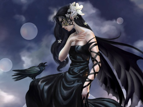 beautiful-lady-post-a-mysterious-girl-in-black-dress-a-crow-facing-her